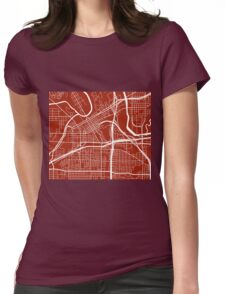 Fort Worth Map - Dark Red Womens Fitted T-Shirt