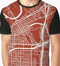 Fort Worth Map - Dark Red Graphic T-Shirt