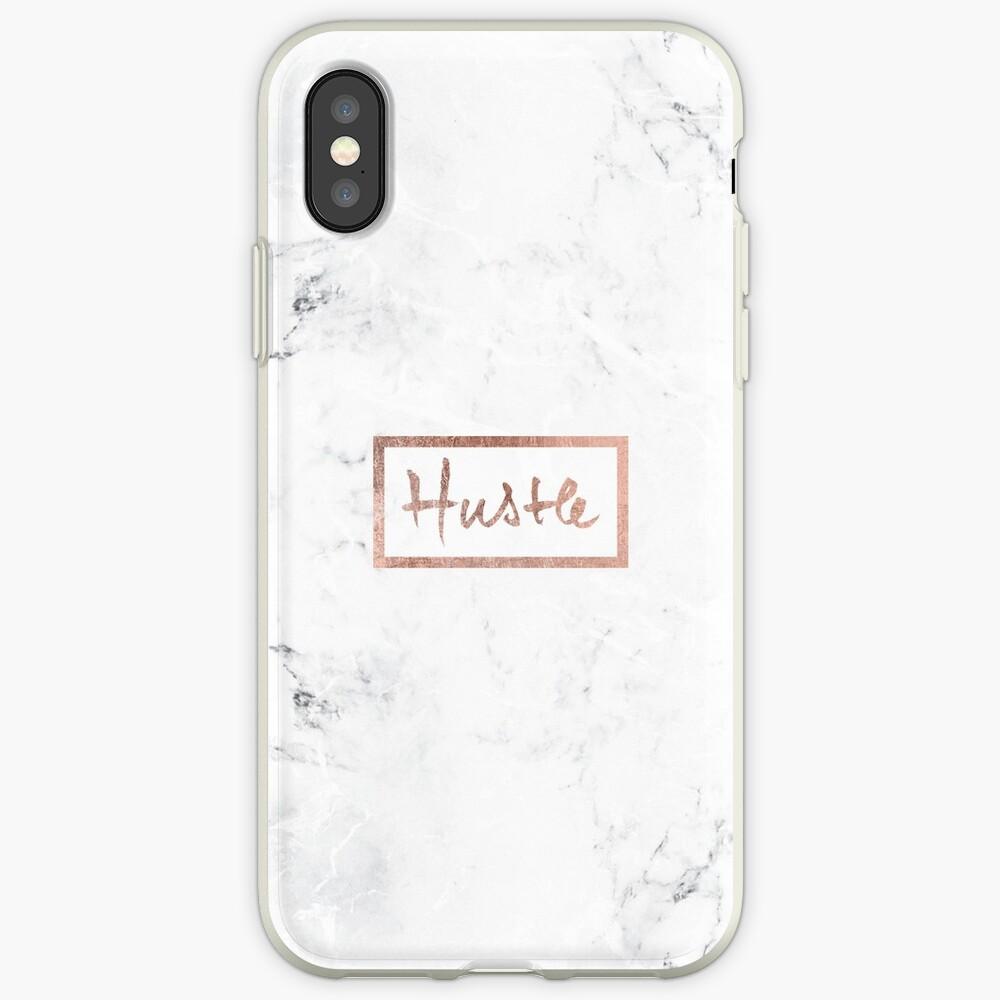 Moderner Hustle Typography Roségold weißer Marmor iPhone-Hülle & Cover