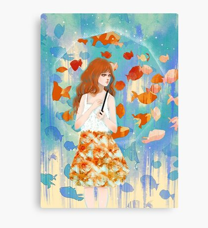 Fish in the rain 魚と雨 Canvas Print