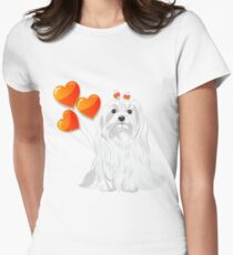 Valentine card with a dog Maltese Women's Fitted T-Shirt