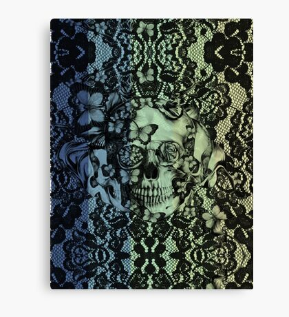 Navy fade Victorian Lace Skull Canvas Print