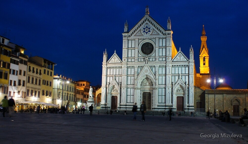 Blue Hour - Santa Croce Church in Florence, Italy by Georgia Mizuleva