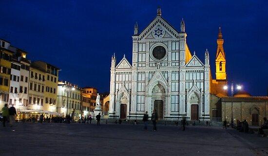 Blue Hour - Santa Croce Church in Florence, Italy by Georgia Mizuleva