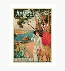 Vintage Antibes French Riviera Cote d'Azur ad Art Print