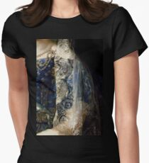 Closeup of Antique Spanish lace Mantilla, detailed dress Womens Fitted T-Shirt