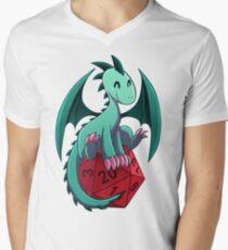 D&D - Dragons and Dice! (Green Dragon) Men's V-Neck T-Shirt