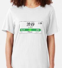 Shibuya Train Station Sign Slim Fit T-Shirt