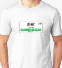 Shinjuku Train Station Sign Slim Fit T-Shirt