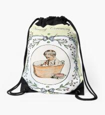 Vintage baby naming, baby in tub, invitation. Drawstring Bag