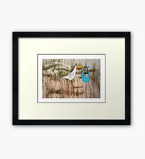 """""""Welcome to the new addition"""", stork with baby. Framed Print"""