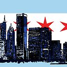 Chicago Skyline Flag by Rich Anderson