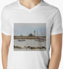Boats and Scituate Lighthouse V-Neck T-Shirt