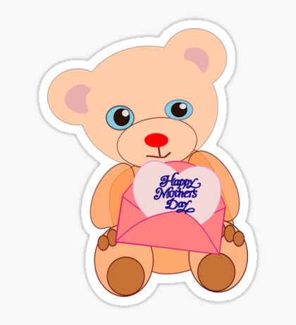 Teddy with mother's day message (5817 views) Sticker