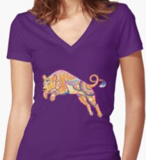 Mandala Lioness Women's Fitted V-Neck T-Shirt