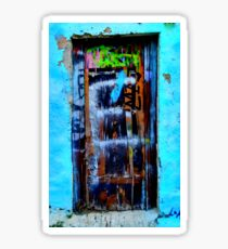 Greek blue wall. Art. Sticker