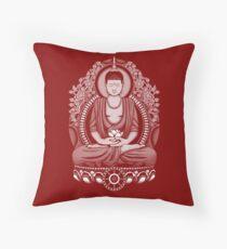 Gautama Buddha White Halftone Throw Pillow