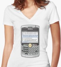Neutral text Hotel Women's Fitted V-Neck T-Shirt