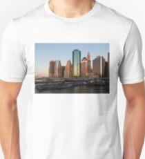 Just Before Sunrise - Manhattan Skyline and South Street Seaport Historic Ships Unisex T-Shirt