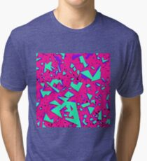 90s Teal and Pink Abstract Geometric Pattern Tri-blend T-Shirt
