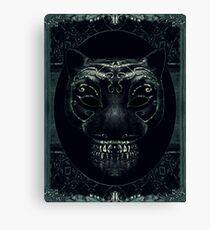 Creepy Mask Portrait with Ornate Borders Canvas Print