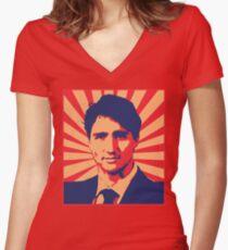 Justin Trudeau Propaganda Art Women's Fitted V-Neck T-Shirt