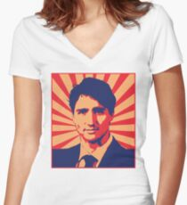 Justin Trudeau Propaganda Art Women's Fitted V-Neck T-Shirt