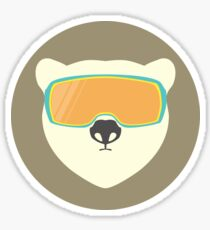 Polar bear with ski mask. Sticker