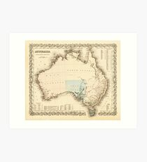 MAP of MYSTERIOUS AUSTRALIA  c. 1850 Art Print
