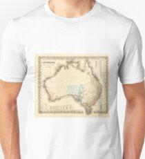 MAP of MYSTERIOUS AUSTRALIA  c. 1850 Unisex T-Shirt