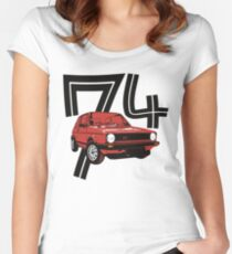 Retro 1970's gti hatchback car t-shirt Women's Fitted Scoop T-Shirt