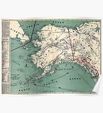 ALASKA GOLD RUSH SURVIVAL MAP/GUIDE  1897 Poster