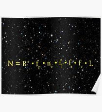 DRAKE EQUATION of EXTRATERRESTRIAL ALIEN LIFE Poster