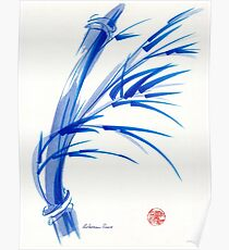"""Wind""  blue sumi-e ink wash painting Poster"