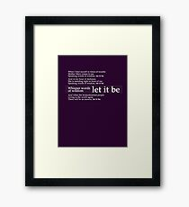 Beatles - Let It Be Lyrics Framed Print