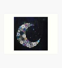 Crescent button moon  Art Print