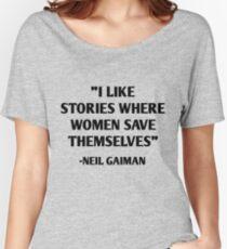 J'aime les histoires où les femmes se sauvent - Neil Gaiman T-shirts coupe relax