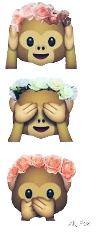 see no evil monkey emoji hipster flower crown tumblr. Black Bedroom Furniture Sets. Home Design Ideas