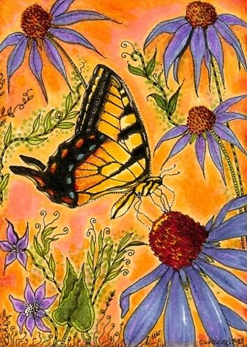 Tiger Swallowtail And Coneflowers by Catherine  Howell