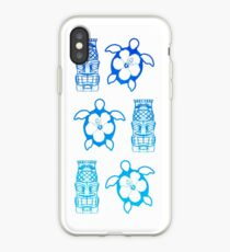 Blue Honu And Tiki Masks iPhone Case