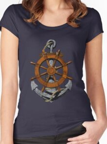 Nautical Ships Wheel And Anchor Women's Fitted Scoop T-Shirt