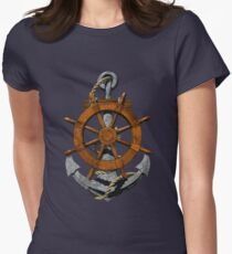 Nautical Ships Wheel And Anchor Women's Fitted T-Shirt