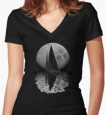 Midnight Sailing Women's Fitted V-Neck T-Shirt