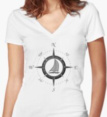 Sailboat And Compass Rose Women's Fitted V-Neck T-Shirt