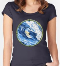 Surfing The Pipe Women's Fitted Scoop T-Shirt