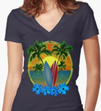 Sunset And Surfboards Women's Fitted V-Neck T-Shirt