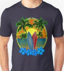 Sonnenuntergang und Surfbretter Slim Fit T-Shirt