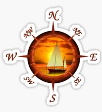 Sailboat And Compass Sticker