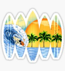 Surfer And Surfboards Sticker