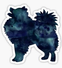 American Eskimo Dog - Eskie -  Black Watercolor Silhouette Sticker